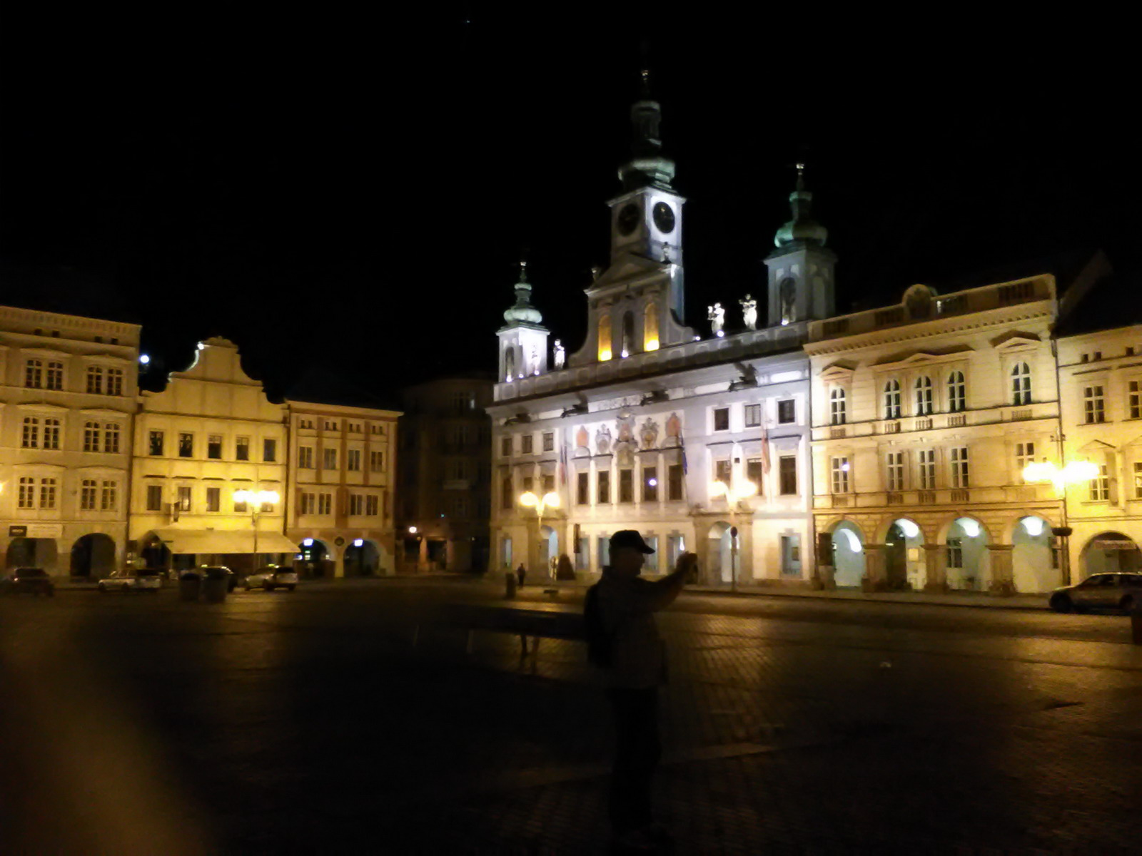 Budweis main square by night