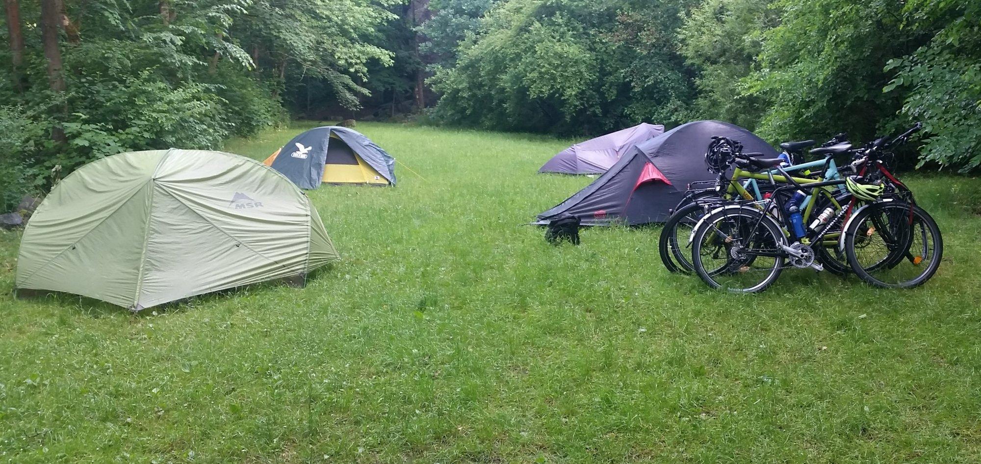 Campsite at Tibor after a damp night